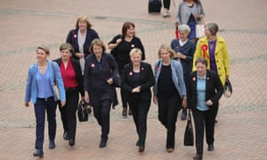Angela Eagle (centre) with fellow Labour MPs Emily Thornberry, Emma Reynolds, Harriet Harman, Jess Phillips, Kate Green, Kerry McCarthy, Lilian Greenwood, Maria Eagle, Shabana Mahmood, Valerie Vaz and Yvette Cooper.