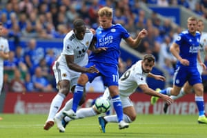 Leicester's Marc Albrighton battles with Willy Boly and Jonny of Wolves as the Foxes win 2-0. Leicester beat Wolves in the top flight for the first time since December 1983 (5-1 at Filbert Street), drawing once and losing twice also since then.