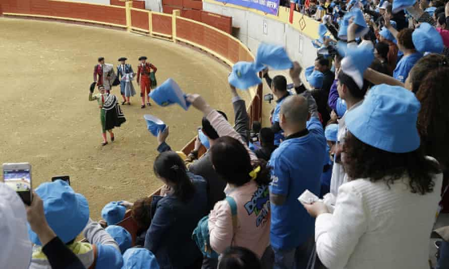 Chinese tourists visit bullring in Morazarzal for a 'bloodless' bullfight