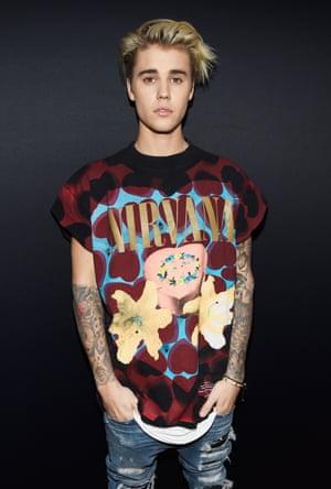<strong>Teen spirit</strong> Justin Bieber in a Nirvana t-shirt.