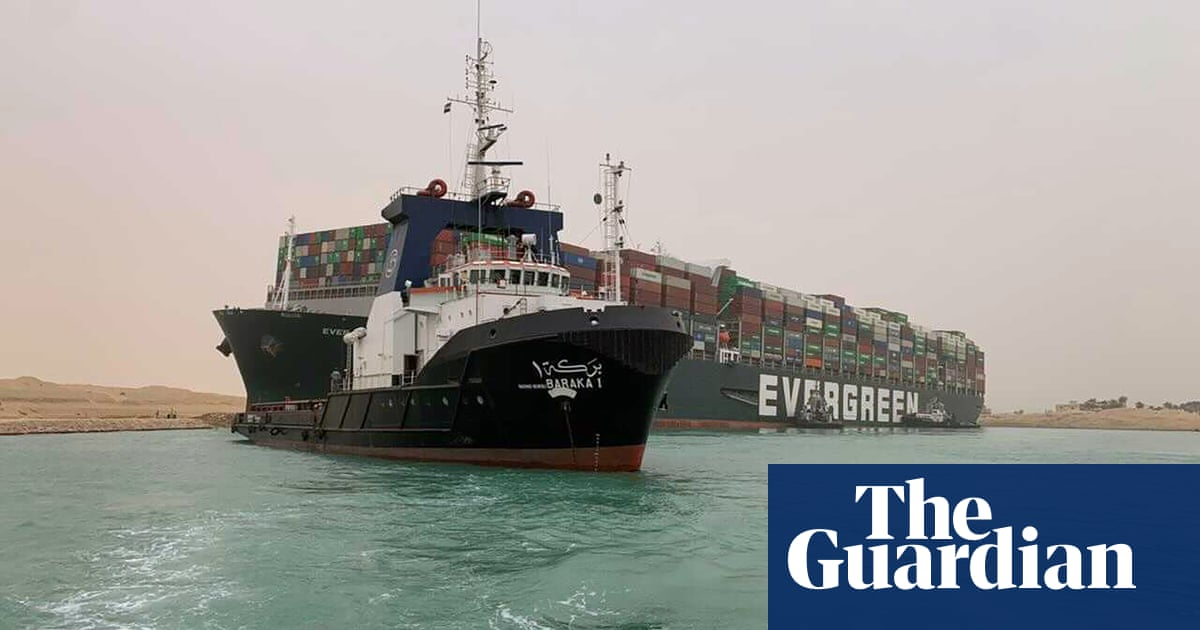 Suez canal blocked: attempts continue to free stuck megaship Ever Given – video