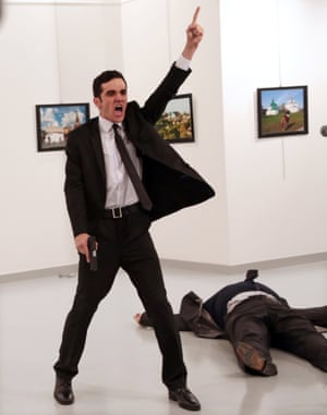 Spot news – stories, first prize  Mevlüt Mert Altintaş shouts after shooting Andrei Karlov, the Russian ambassador to Turkey, at an art gallery in Ankara