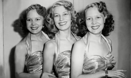 The Beverley Sisters – Teddie, Joy and Babs – in 1950. Their penchant for risqué songs and dresses, made by their mother, got them into trouble with their bosses at the BBC.