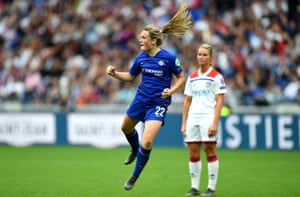 Erin Cuthbert of Chelsea celebrates after scoring what has been judged the best Champions League goal of the season.
