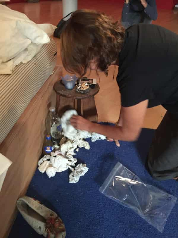 Tracey Emin at work recreating My Bed in Liverpool.