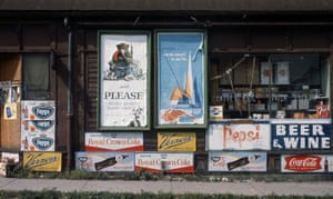 Storefront with Faygo, Vernors and Pepsi signs, late 60s