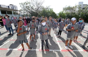 Children at a school in Tunis, Tunisia. According to the Tunisian Ministry of Health coronavirus cases are on the rise, which prompted the government to impose a night curfew in Monastir and Sousse provinces until 15 October.