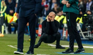 Manchester City head coach Pep Guardiola at the Champions League first leg match against Real Madrid on 26 February 26.