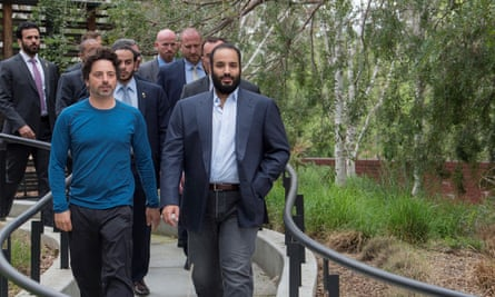 The crown prince with Sergey Brin, co-founder of Google.