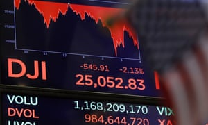 A board above the floor of the New York stock exchange shows the closing number for the Dow Jones industrial average on Thursday.