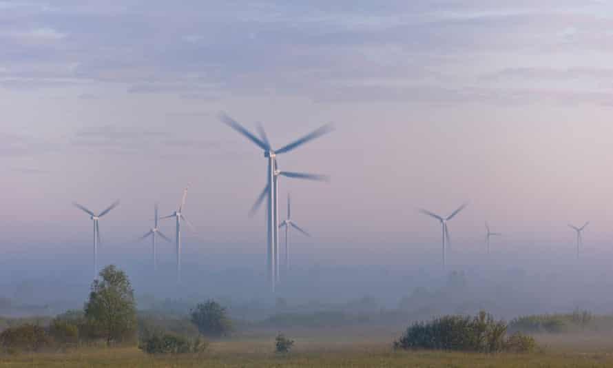 Wind farm in rural area near Gdansk Poland