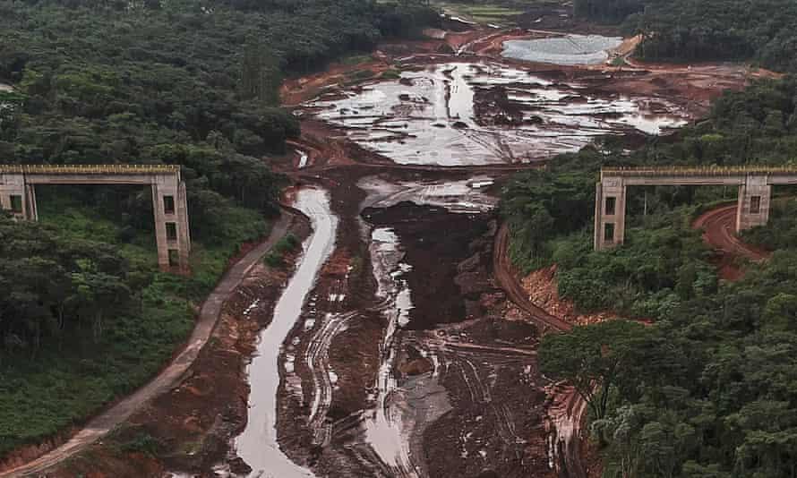 View of the railway bridge one year after the Brumadinho dam burst