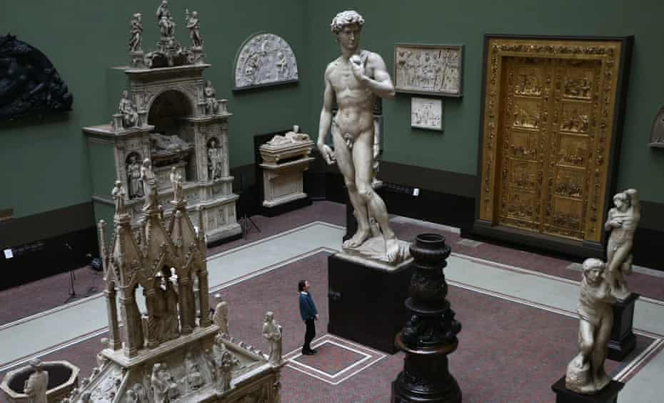 Signal … a five-metre-high cast of Michelangelo's David in the V&A's Cast Court.