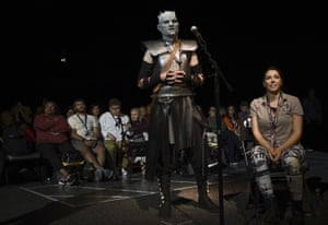 San Diego, US: Christopher Lomas, dressed as the Night King, asks a question at the Game of Thrones panel on day two of Comic-Con International in the southern Californian city