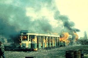 A tram on fire