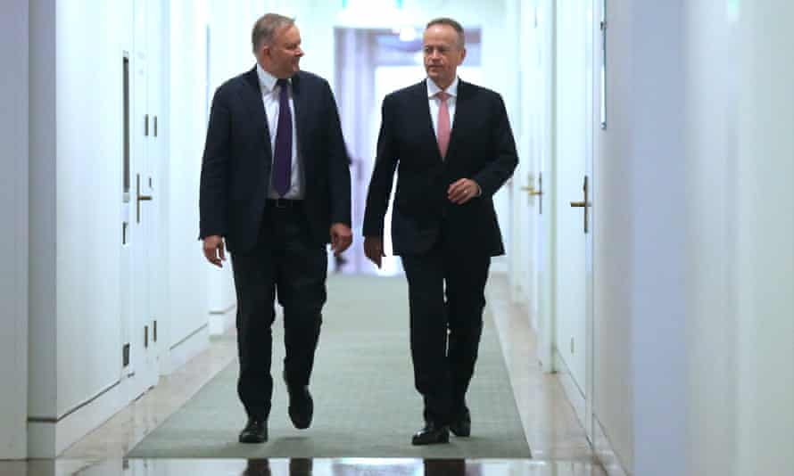 Anthony Albanese and Bill Shorten walk together to the Labor caucus room on Thursday