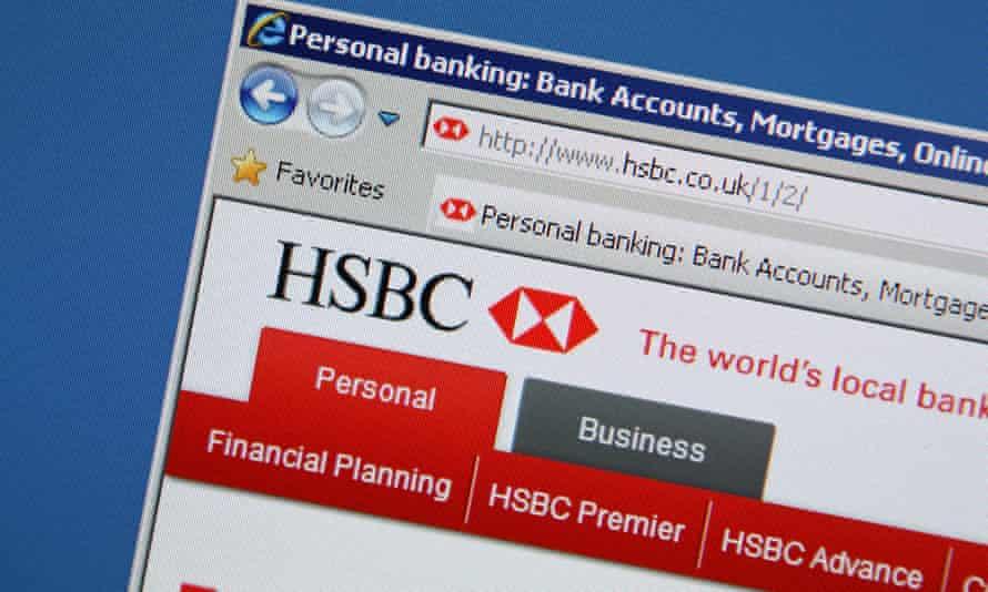 HSBC website on screen