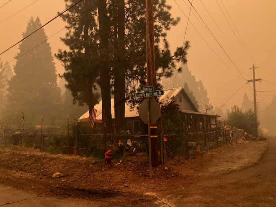 Kimberly Price's home in Greenville, California, in smoky conditions.