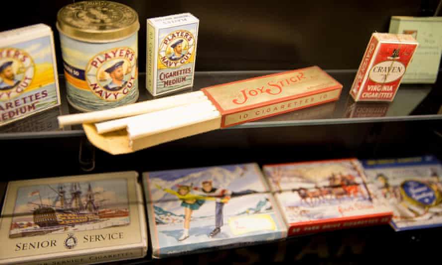 Cigarette packs on display.