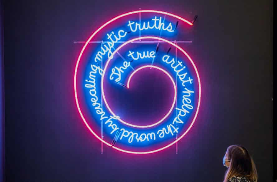 The True Artist Helps the World by Revealing Mystic Truths (Window or Wall Sign) 1967, by Bruce Nauman.