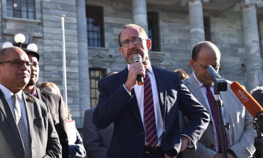 New Zealand Health Minister Andrew Little addresses the crowd outside New Zealand's Parliament in Wellington, New Zealand, Wednesday, June 9, 2021. Kiwi nurses have turned down the latest pay offer from Jacinda Ardern's government, leading to industrial action. (AAP Image/Ben McKay) NO ARCHIVING