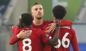 Jordan Henderson with Naby Keïta and Trent Alexander-Arnold after scoring for Liverpool at Brighton.