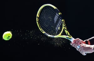 A detail shot of Rafael Nadal's tennis racquet as he returns a shot to compatriot Pablo Carreño Busta during his straight sets (6-1, 6-2, 6-4) victory