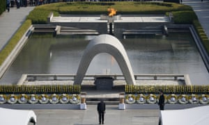 Japan's PM Shinzo Abe bows as he attends a ceremony at the Peace Memorial Park in Hiroshima on the 70th anniversary of the world's first atomic bombing.