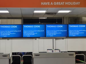 Closed check-in desks at Gatwick Airport in Sussex as 178-year-old tour operator Thomas Cook has ceased trading with immediate effect after failing in a final bid to secure a rescue package from creditor