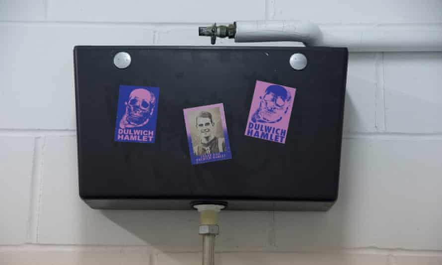 Dulwich Hamlet FC stickers at the ground they shared with their rivals Tooting and Mitcham FC.