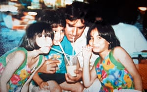From left: Khola, Khizer and Javaria with their father, Raza Mir, in 1990.