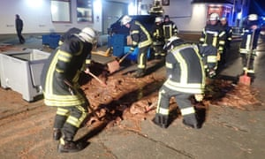 It took 25 firefighters, using shovels, hot water and torches, to remove the chocolate.