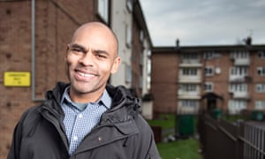 Bristol's mayor, Marvin Rees, visits his old home in the Lawrence Weston district of the city