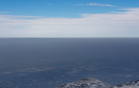 A temperature inversion traps and fills the Salt Lake valley with thick smog in Draper, Utah. Severe inversions have plagued Utah's large cities for many years.