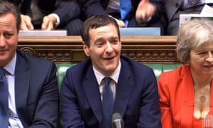 Chancellor of the Exchequer George Osborne looks on as Labour Party leader Jeremy Corbyn responds to his Budget statement to the House of Commons, London.