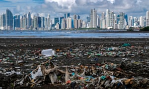 Garbage, including plastic waste, is seen at the beach in Costa del Este, Panama City.