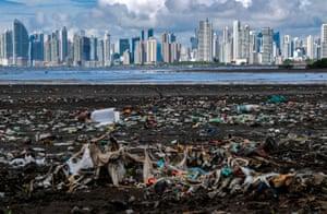A plastic-choked beach in Costa del Este, Panama City.