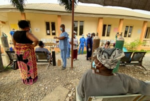 Patients receive oxygen outside the infectious disease hospital ward in Yaba, Lagos, Nigeria.