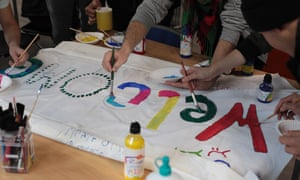 A banner being made at the Folkstone refugee youth centre in Kent