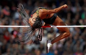 Belgium's Nafi Thiam clears the bar in the high jump before going on to win the women's heptathlon.