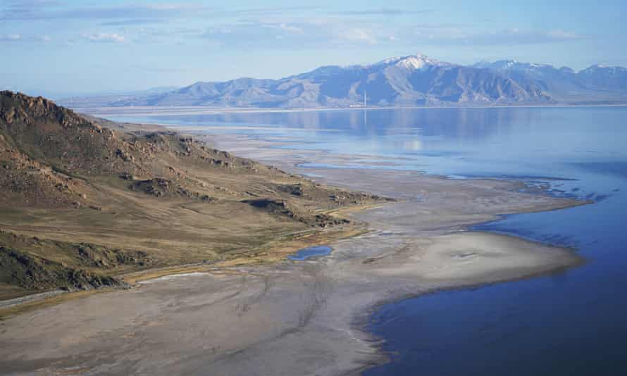 The Great Salt Lake recedes from Anthelope Island near Salt Lake City. The waters have receded further since this photograph was taken in May.