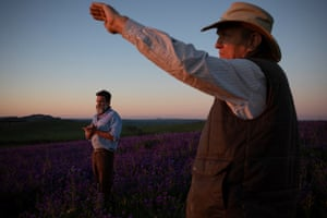 Charlie Arnott and Hamish McKay on Arnott's property near Boorowa, New South Wales.