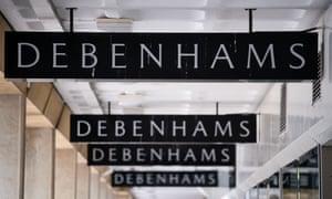 Series of Debenhams signs