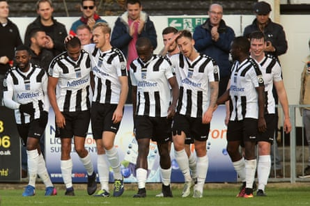 Remy Clerima is congratulated after scoring the opening goal for Maidenhead United against Dagenham & Redbridge on 28th October 2017