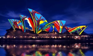 Sydney opera house with songlines artwork