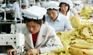 North Korean women work at an assembly line in the the Kaesong industrial complex.