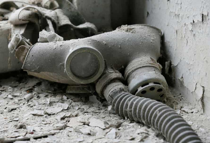 Gas mask of a child in a kindergarten in the now abandoned city of Pripyat