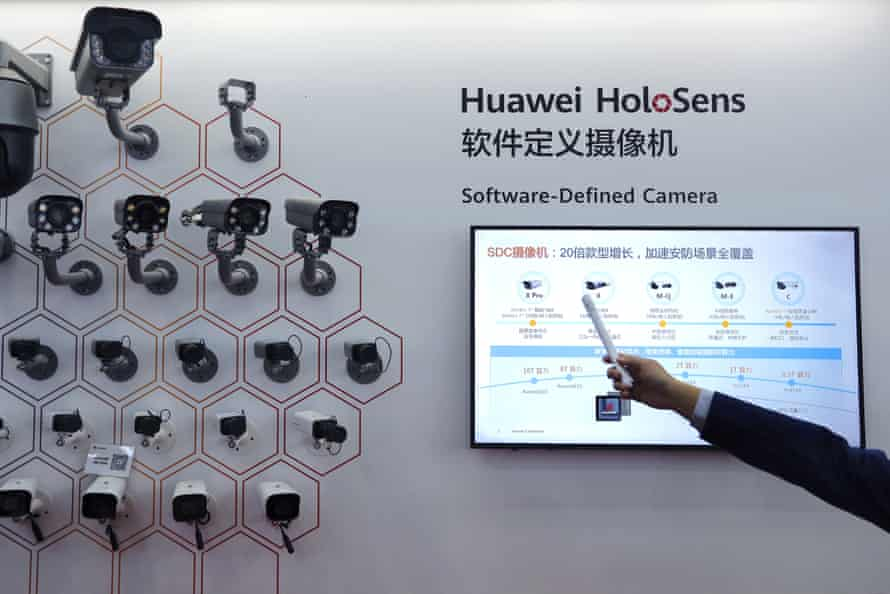 Huawei's surveillance cameras are on display during the China Public Security Expo in Shenzhen, China.