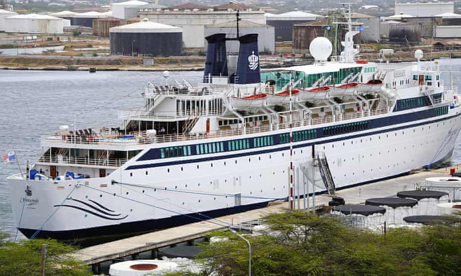 The 440-ft ship, the Freewinds, owned and operated by the Church of Scientology, is docked under quarantine from a measles outbreak in port in Willemstad, Curaçao.