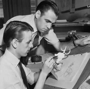 Willis Pyle (seated), with Lee Morehouse, working on sketches for Bambi.